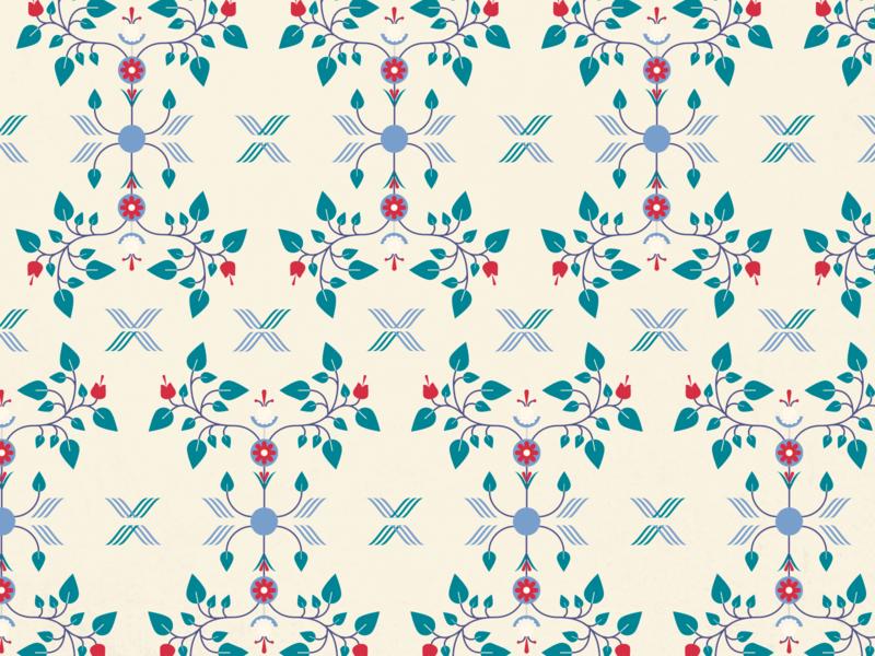 Daily Pattern - 01 01 20 wallpaper beige maroon blue teal flowers leaves vine patterns floral pattern tile