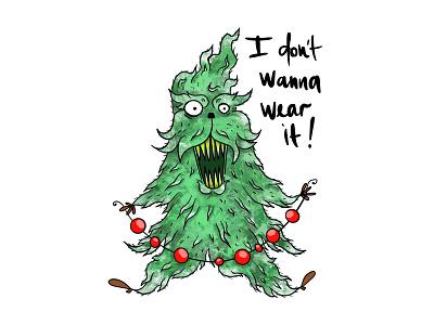 xmas tree christmas xmastree tree xmas characterdesign creepy character art comic procreate illustration iradorn