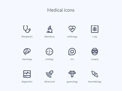 Medical icons brain gynecology surgery stethoscope microscope icons medicine web