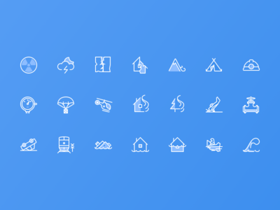 Icons of Emergency Situations car fire flood tsunami helicopter train earthquake emergency nuclear web icon