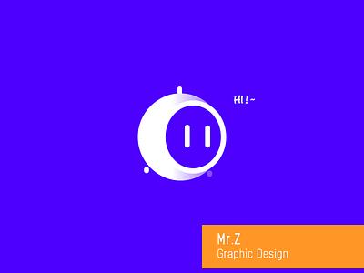Mr.Z graphical design white robot intelligent