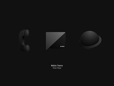 Mobile Theme — Black black icon ui design browser sms phone