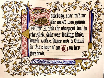 "Illuminated lyrics: ""All Star"" medieval illumination pop art pop culture calligraphy"