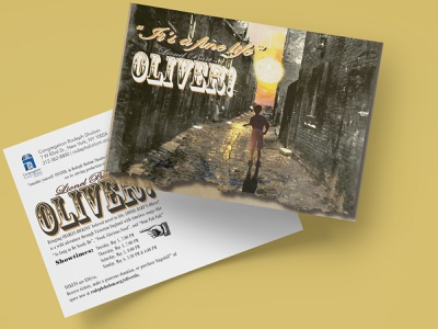 Lionel Bart's Oliver! advertising event promotion advertising pop culture postcard design community theater community