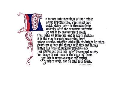 Sonnet 116 romantic illumination calligraphy