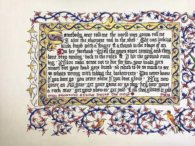 All-Star blackletter writing song lyrics music humor ivy leaves dragon medieval art illumination calligraphy