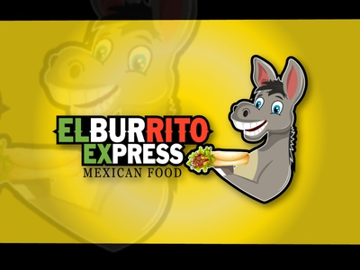 ELBURRITO EXPRESS / MASCOT LOGO logos logo design food logo design food logo mexican food mexican logo donkey modernlogo illustration mascot character logodesign graphicdesigner design vector logo customlogo mascot mascot logo design mascotlogo