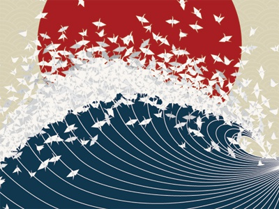 Project Senbazuru japan illustration poster tsunami earthquake help