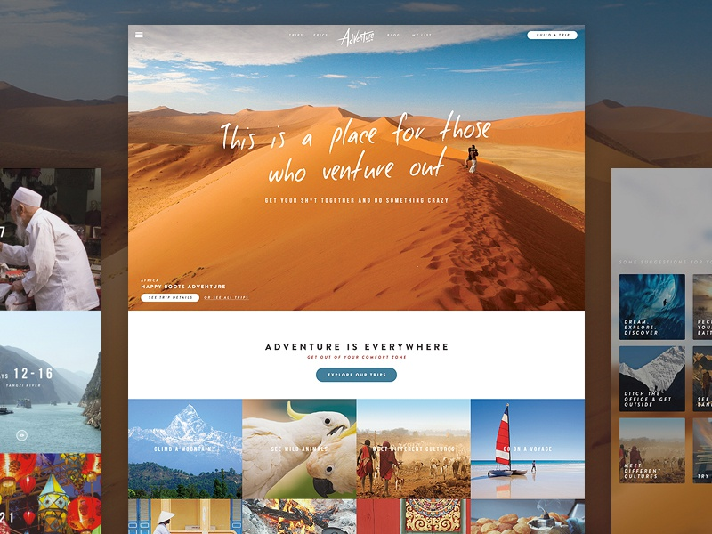 A Different Kind of Adventure clean blog flat grid photography travel ui website