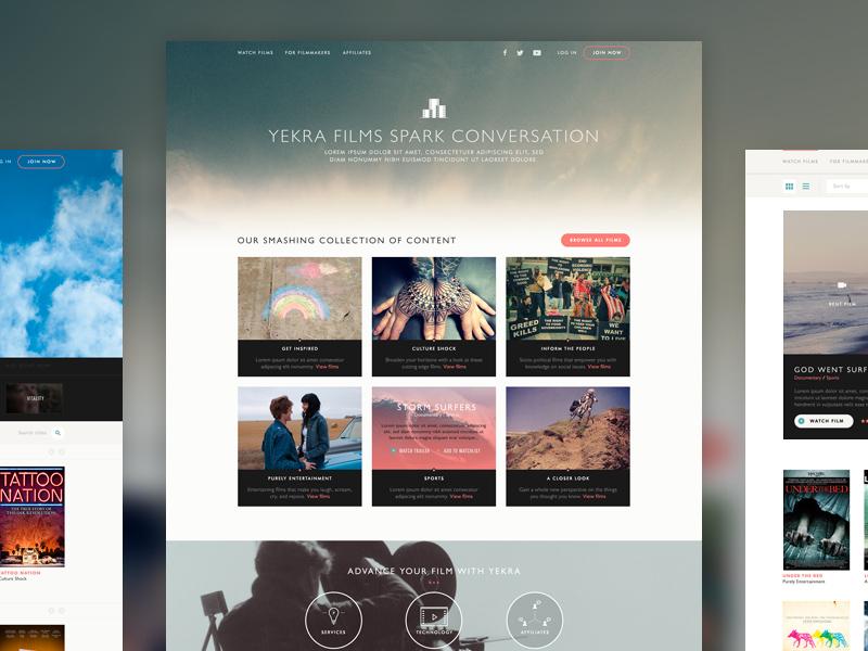Yekra Films design web film website ui photography grid clean pink black white flat