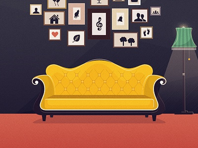 The Identified Yellow Couch couch illustration retro lamp frame vintage yellow