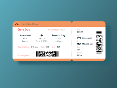 Daily UI 024 Boarding Pass daily ui 024 boarding pass dailyui daily ui challenge