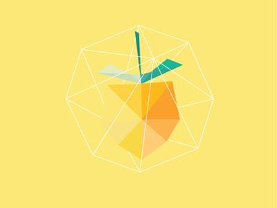 Lemon Shape Icon icon illustration lemon fruit flat shapes wire yellow lab net geometrical