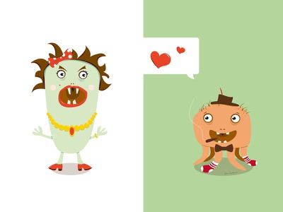 Be My Valentine illustration character monster heart love cute scary flat