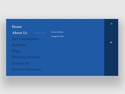 Full Screen Menu mega menu submenu blue desktop full screen hamburger full screen menu