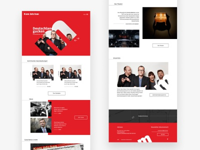 Theatre Website Design ui desktop red cabaret program blog hero homepage theatre