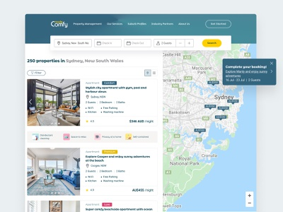 Short term rental booking platform desktop calendar property details checkout rental property booking platform search map