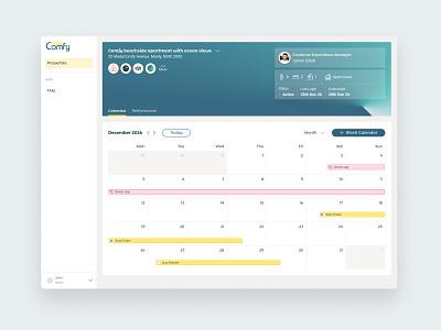 Web App Host Dashboard Calendar desktop user interface sidebar property management dashboard app calendar