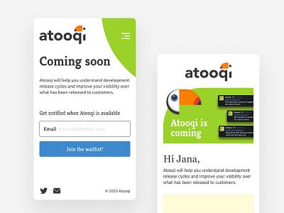 Mobile Web Design app newsletter edm input field landing page user interface colorful mobile website toucan