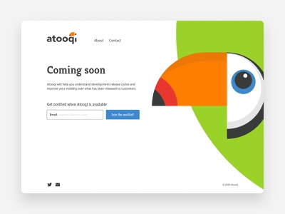 Landing Page Design toucan subscribe landing coming soon input sign up edm desktop ui