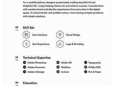 Resume '17 black  white skills grid minimal cv resume