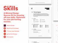 Skills Resume Kit hexagon circular vertical rhythm grid white black monochrome monotone minimal clean cv resume