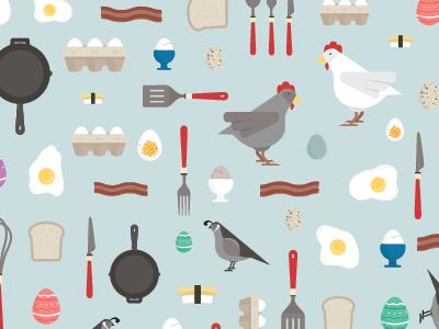 Egg Pattern egg chicken bird illustration pattern flat icon bacon food
