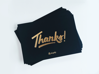 Thank You cards shopify lettering handtype letterpress foil thank you thanks