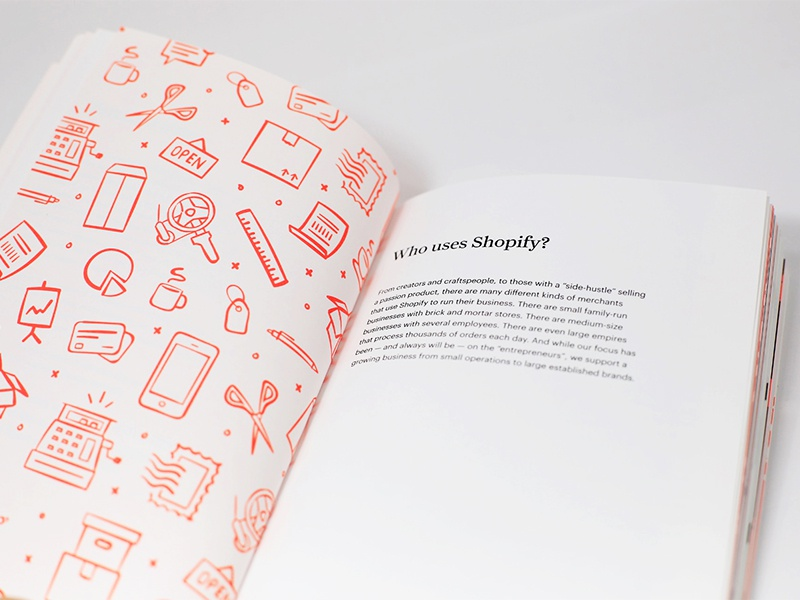 Checkout. The Shopify Story. neon illustration layout book