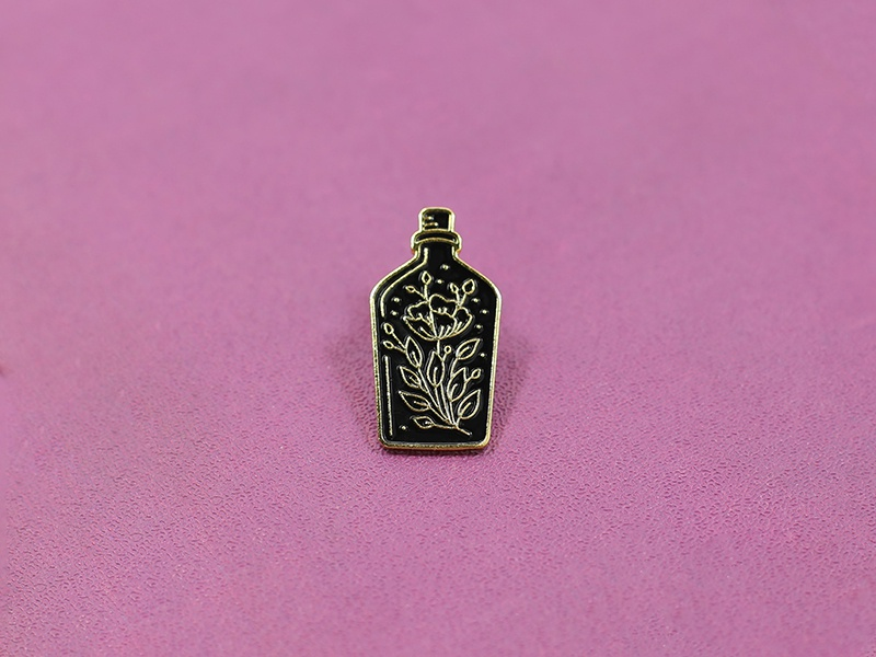 Bottle Enamel Pin shopify canada ottawa pin enamel pin lapel bottle flower