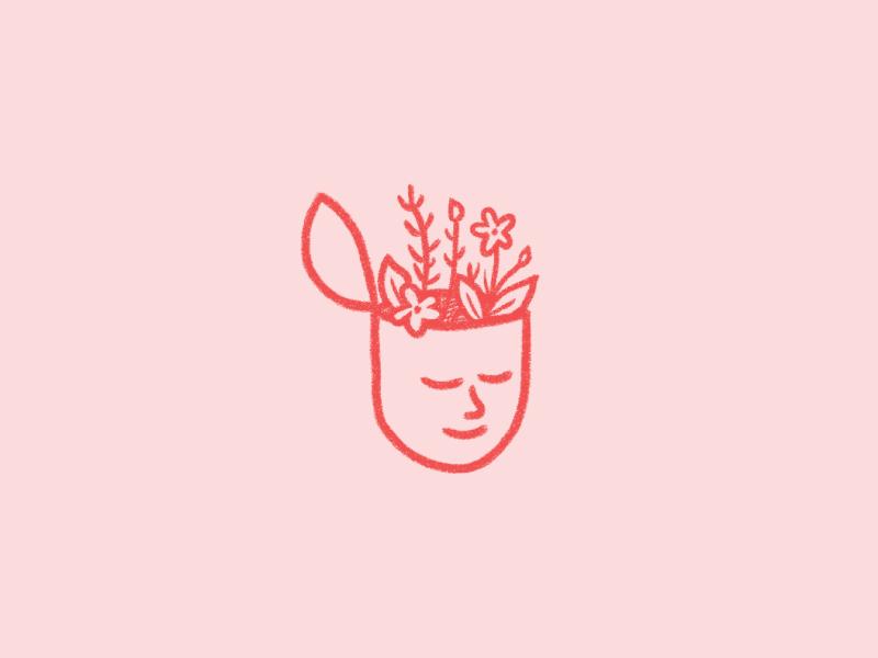 Selfie illustration head sticker flowers