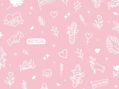 YLLO Scrub Illustrations plants heart icon girl power illustration pattern