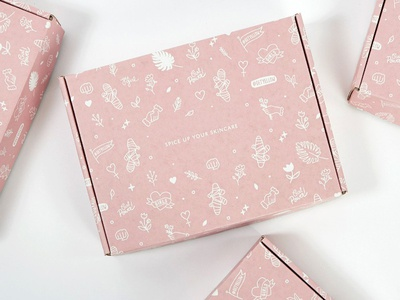Yllo Beauty Package Design flowers box pattern skincare health illustration package design