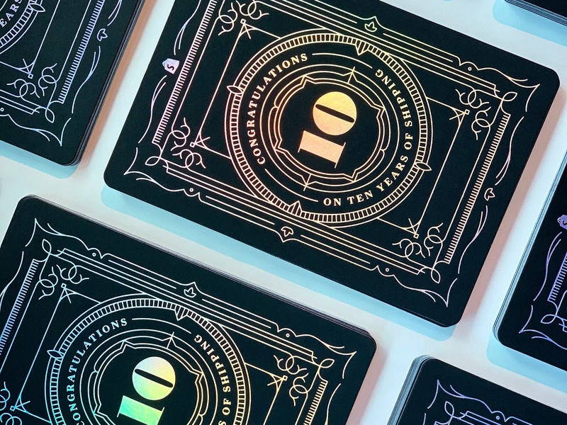 Shopify 10 Year Anniversary Card anniversary foil stamp iridescent foil shopify