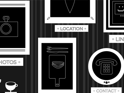 Pigeon Hole web design illustration black and white