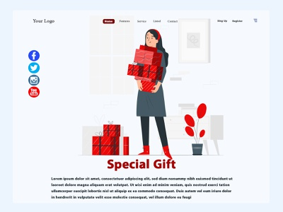 Special Gift Website Header Concept homepage responsive design design ux design red uxdesign uidesign uiux ui graphic design gift