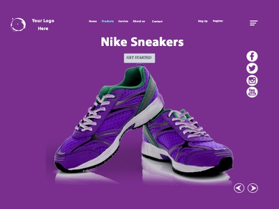 Landing Page Nike Sneakers shoes pink design pink vector uiux buy online ui ux design website ux homepage responsive design