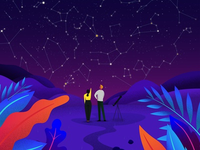 Constellations colorful constellation stars space illustration