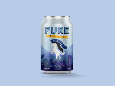 Pure Beer Branding unicorn beer can beer packaging illustration typography logotype logo