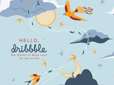 Hello Dribbblers! pattern art typography vector design illustration