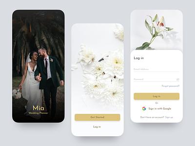 Wedding Planner app (Login) wedding white branding ux illustration design ui minimal figma app