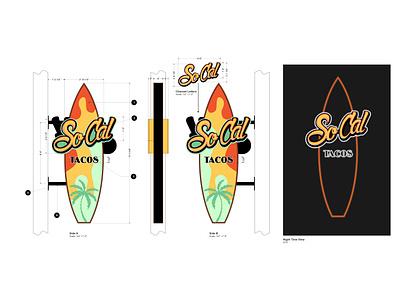 Surfboard Blade Sign tacos blade sign signage sign logo branding digitalart graphics drawing graphic design illustration design