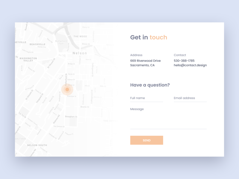 Contact Page figma ui deisgn form map contact web