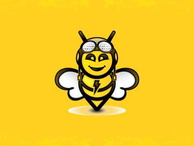 Hello !  logo bee binary search character cartoon pilot lighting fast