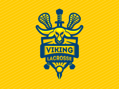 Viking Lacrosse shield sport sword longhorn blue yellow emblem lacrosse viking