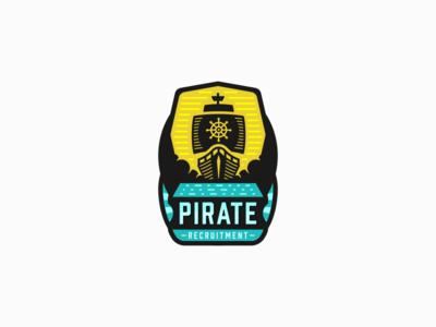 Pirate Emblem travel journey flat cloud ocean sea ship pirate badge emblem