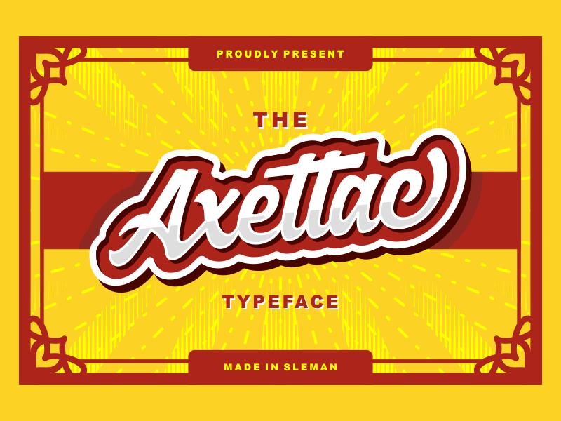 Axettac Script sticker bold script packaging branding badge label retro vintage handmade font logo