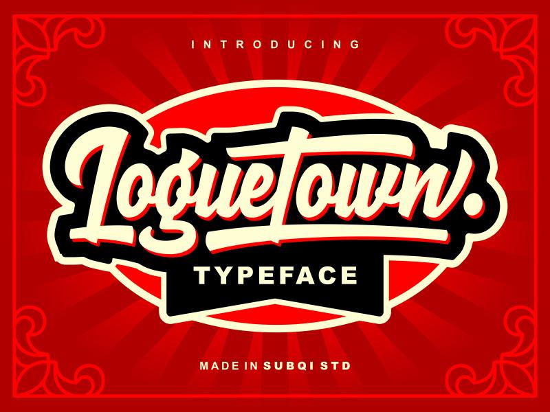 Loguetown design signage label retro modern vintage script brush logotype