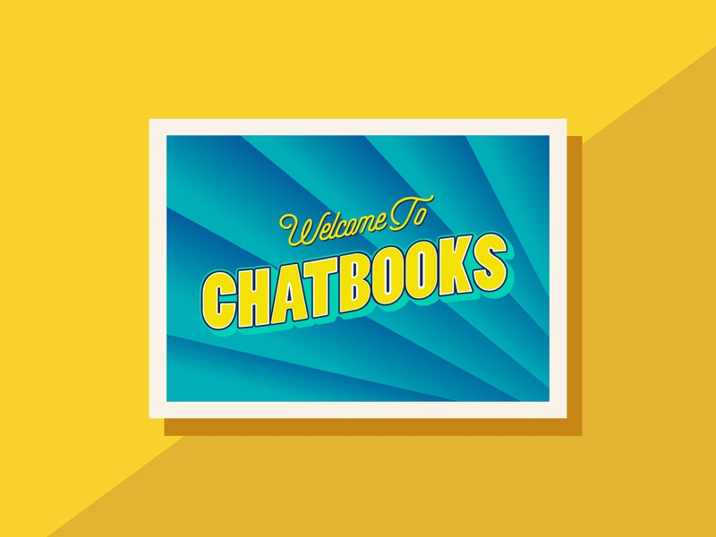 Greetings from Chatbooks postcard design color postcard art illustrator flat typography vector branding design illustration