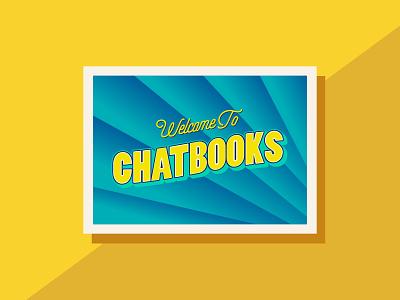 Greetings from Chatbooks postcard design color postcard art illustrator flat typography vector branding design illustration